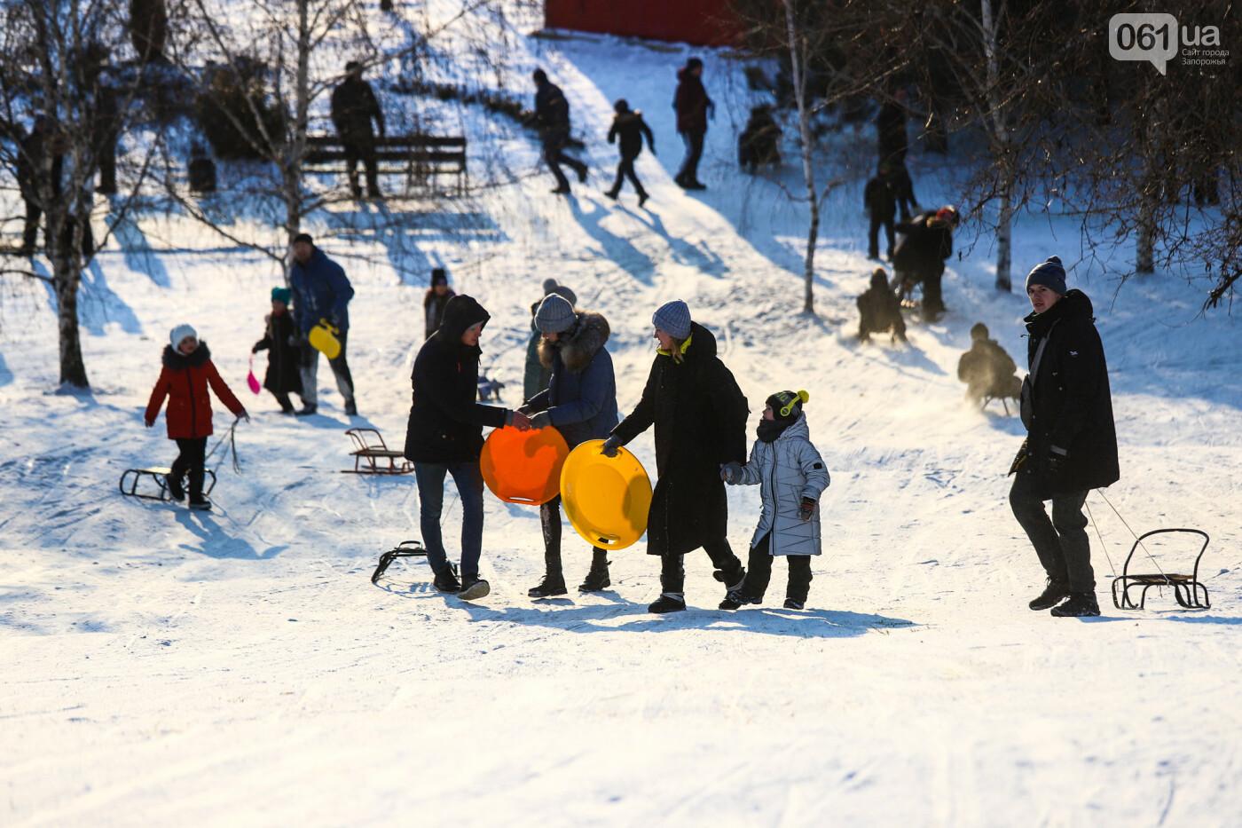 На санках, лыжах и сноуборде: запорожцы устроили массовое катание с горок в Вознесеновском парке, - ФОТОРЕПОРТАЖ, фото-42