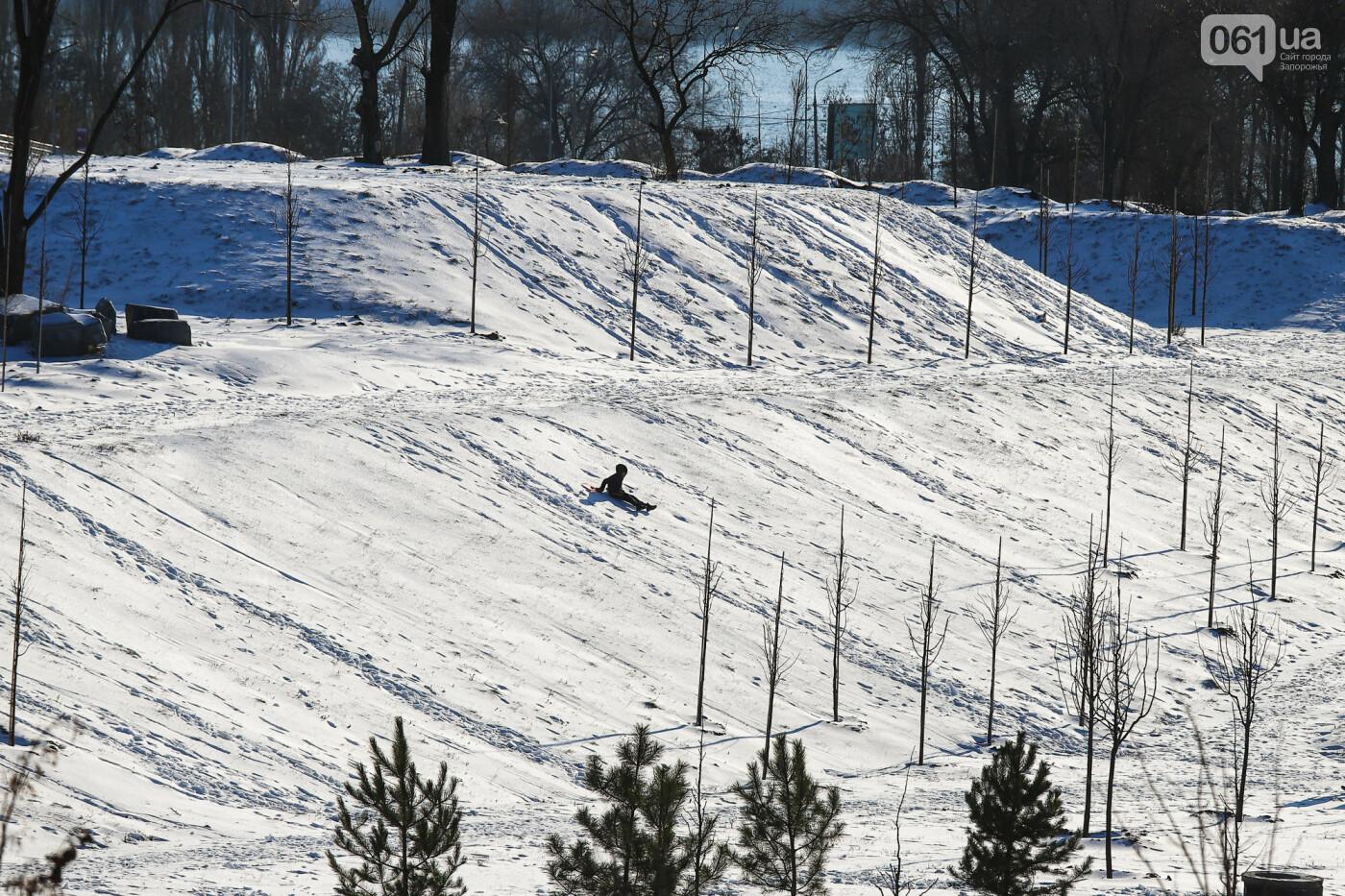На санках, лыжах и сноуборде: запорожцы устроили массовое катание с горок в Вознесеновском парке, - ФОТОРЕПОРТАЖ, фото-1