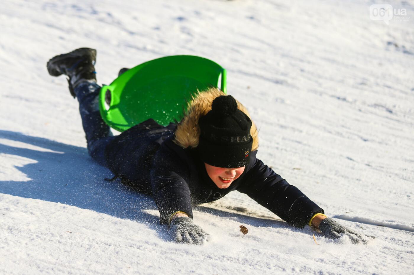 На санках, лыжах и сноуборде: запорожцы устроили массовое катание с горок в Вознесеновском парке, - ФОТОРЕПОРТАЖ, фото-77