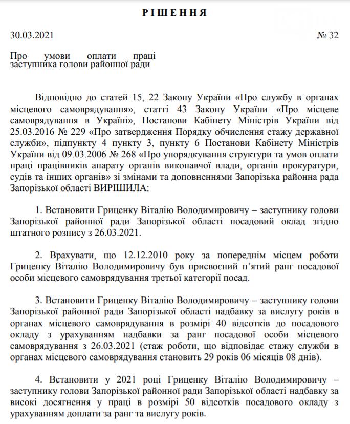Новоизбранному заму главы Запорожского райсовета повысили зарплату на 140% и дали материальную помощь на оздоровление, фото-1