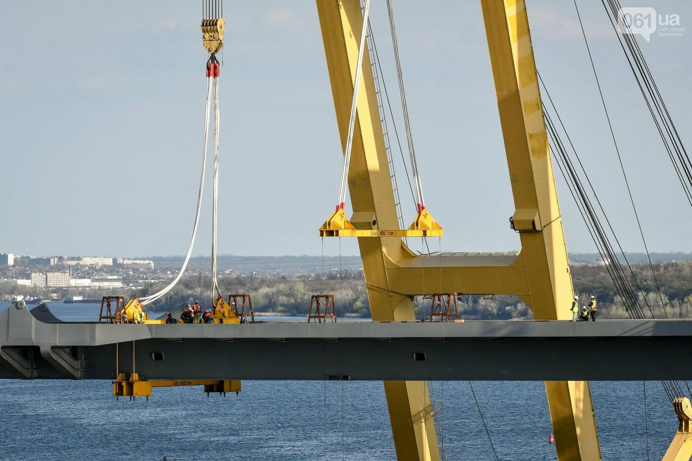 В Запорожье монтируют первый блок вантового моста, - ФОТОРЕПОРТАЖ, фото-19