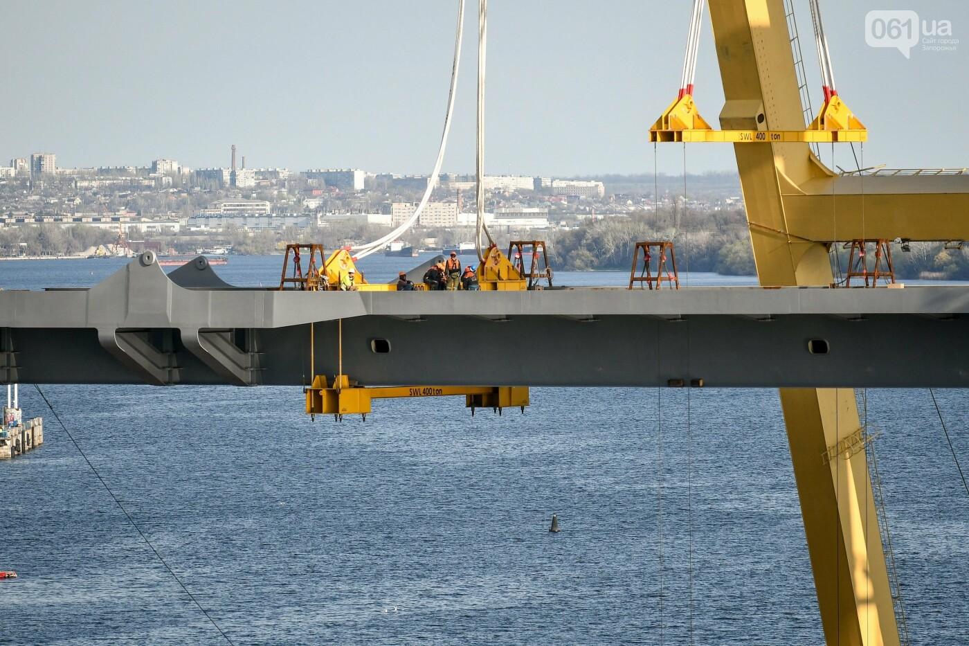 В Запорожье монтируют первый блок вантового моста, - ФОТОРЕПОРТАЖ, фото-18