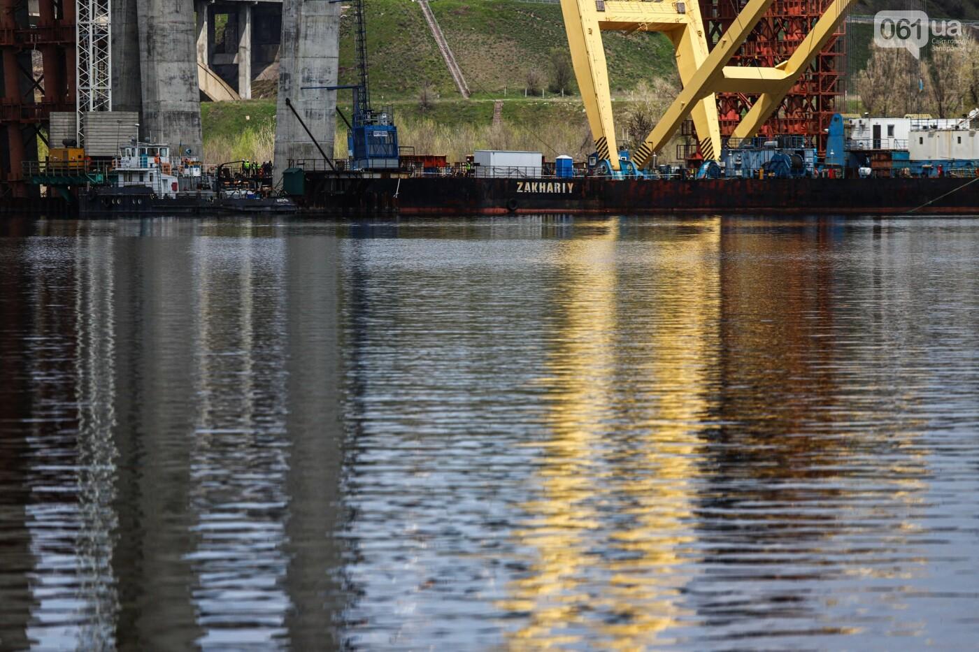 В Запорожье монтируют первый блок вантового моста, - ФОТОРЕПОРТАЖ, фото-9