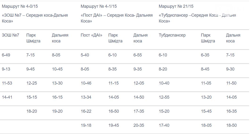 1 60c76756c99a5 - Мэрия Бердянска опубликовала расписание летних рейсов маршруток на Дальнюю косу