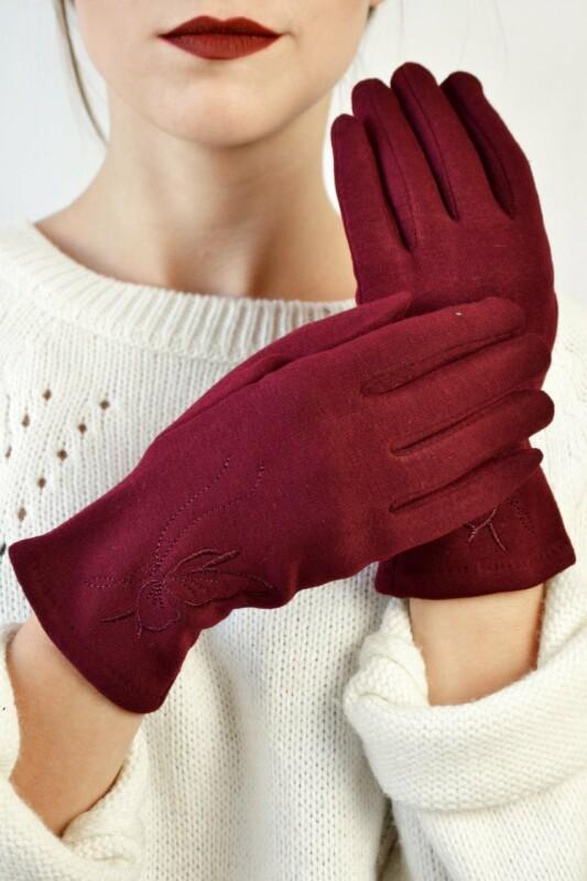Женские перчатки трикотажные Макарон марсала размер 7 a875606012c04