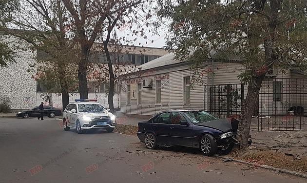 В Бердянске BMW на иностранных номерах влетело в дерево, – ФОТО, ВИДЕО, фото-1