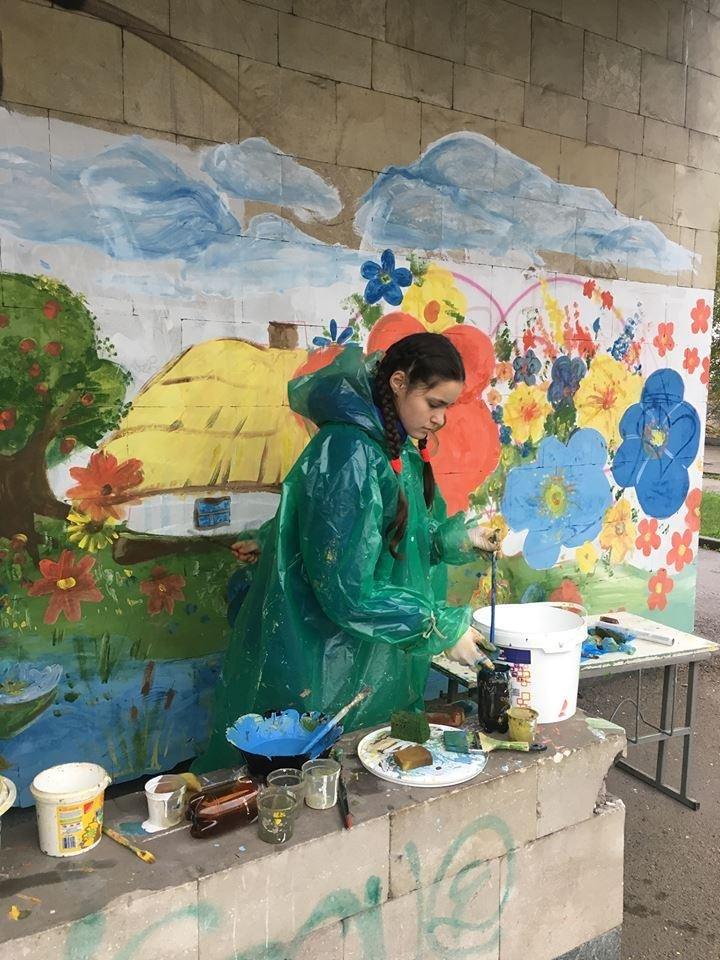 Ученики Запорожского Цента творчества зарисовали надписи вандалов пейзажами, - ФОТО, фото-1
