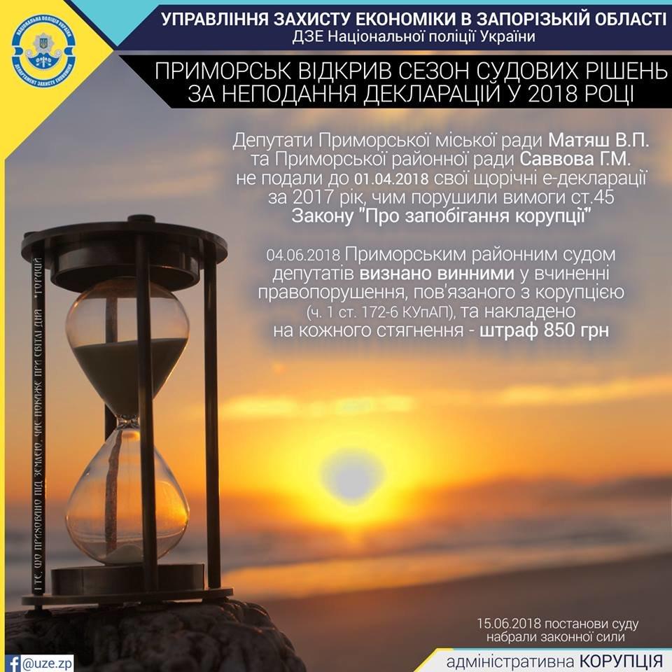 В Запорожской области депутатов оштрафовали за не поданные вовремя декларации, фото-1