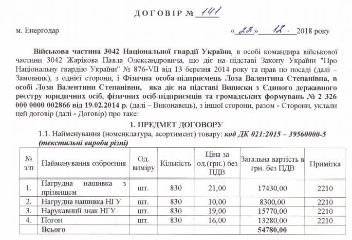 В Энергодаре Нацгвардия заказала 830 наборов нашивок и погон почти на 55 тысяч гривен, фото-1
